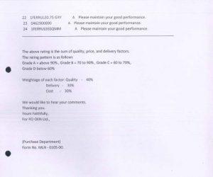 Vendor rating FCI all A